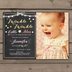 Twinkle Twinkle invitation Twinkle Twinkle Little Star Birthday Invitation Girl birthday Pink Gold Glitter with photo Digital Printable DIY on Etsy, $18.53 CAD