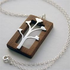 Your place to buy and sell all things handmade Metal Clay Jewelry, Wooden Jewelry, Pendant Jewelry, Silver Jewelry, Handmade Jewelry, Silver Pendants, Precious Metal Clay, Wood Necklace, Bijoux Diy