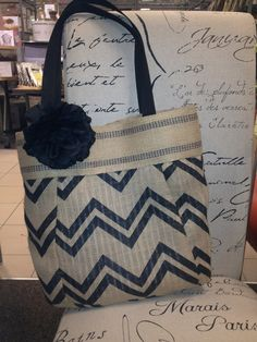 Chevron Burlap Tote by BBELLECOUTURE on Etsy, $48.50