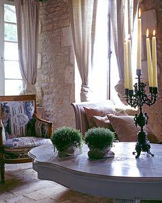 stone walls + floor in french farmhouse
