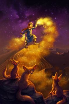 Sand Wizard - A magical fantasy painting by Laura Diehl (LDiehl.com). A Moroccan wizard boy puts on a spectacle of sand magic for his Fennec fox onlookers under the mystical stars of the desert sky. Gallery-quality prints for sale starting at $20. #nurseryart #nurseryprint #childrensart #kidlitart #illustration #fantasyart #childsroom