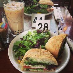 Chicken Pesto Sandwich and Bubble Tea from Urth Cafe in Santa Monica, CA