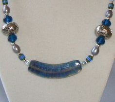 Blue Banana Bead with Blue Teal & Gray Beads and Pearls