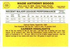 1983 Donruss #586 Wade Boggs Back