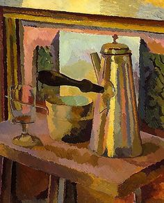 """Duncan Grant (Bloomsbury Group), """"The Coffee Pot,"""" c. Oil on canvas, 61 x in. The Metropolotian Museum of Art. Duncan Grant, Vanessa Bell, Painting Still Life, Still Life Art, Bloomsbury Group, Virginia Woolf, Vintage Poster, Post Impressionism, Metropolitan Museum"""