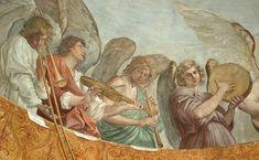 RENI Fresco de Guido Reni - Cappella di S. Andrea - Chiesa di S. Gregorio. Anderson , Roma. Trombón de varas, Viola da braccio, Trompeta, Pandereta. - Pinterest