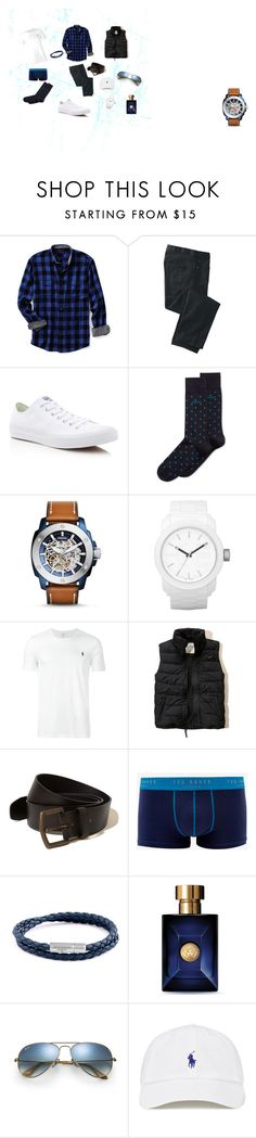 """Laid Back Blues"" by newviewclothing on Polyvore featuring Lands' End, TravelSmith, Converse, HUGO, FOSSIL, Diesel, Polo Ralph Lauren, Hollister Co., Ted Baker and Tateossian"