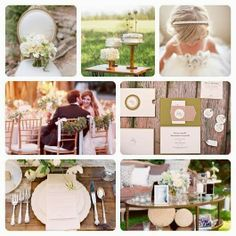 all white and natural wedding reception color palette in the trees