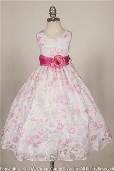 Fuchsia Illusion Organza print Flower Girl Dress