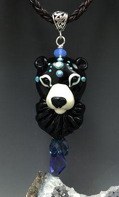 bead or pendant lampwork glass bear 28mm x 23mm muranoglass