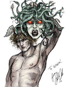 Perseus and Medusa Digital Sketch Commission by Carliihde Medusa Drawing, Medusa Art, Medusa Tattoo, Greek And Roman Mythology, Greek Gods, Medusa Gorgon, Mythological Creatures, Greek Mythology, Fairies