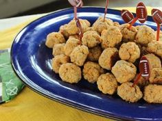 3 ingredient cheese balls - great for tailgating! Sausage, bisquick, cheddar... Mix, bake. (Trisha Yearwood)