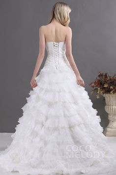 Fabulous A-Line Sweetheart Court Train Cascading Ruffles Organza Wedding Dress CWLT13073#Cocomelody#weddingdresses#bridalgown#