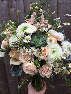 Beautiful bridal bouquet of soft blush spray rose, #Tanecetum daisy, #ranunculus, #succulents, scented #stocks and peach avalanche #rose a gorgeous selection for that #wild just picked look. #weddingflowers #pennyjohnsonflowers