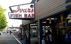 Ivar's Fish Bar - make sure to stop by Ivars when you visit Seattle to pick up some tasty clam chowder or fish and chips from the world famous fish bar!