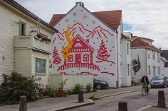 A Large Mural Composed by Cross Stitches from Lithuanian Street Artist Ernest Zacharevic in Stavanger // Norway