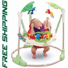Jumperoo Baby Jumper Bouncer Walker Rotating Seat Fun Activity Rainforest Toys #FisherPrice