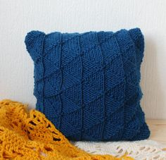 Blue sweater pillow throw hand knitted pillow cover cushion