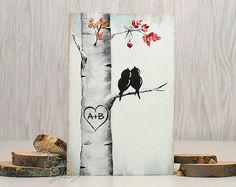 ¡Regalo de Navidad de madera único hecho y listo para enviar! Idea de regalo de San Valentín te y Me muestra señales de madera reclamado madera arte 5to aniversario regalo amor pájaro pintura madera amor arte madera pared decoración de la boda regalo para la pareja por Linda Fehlen  Tú y yo - pájaros del amor en una pintura de alambre en madera recuperada  {Tamaño} - 22 1/4 x 10 3/4 en madera de la plataforma que ha sido pintado con un estilo apenado reclamado.  Este cuadro simplista…