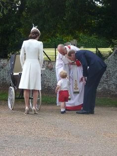 Christening of Princess Charlotte of Cambridge, July 5, 2015-Duke and Duchess of Cambridge with Prince George and Princess Charlotte