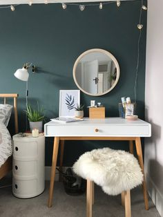 We have finally finished revamping our master bedroom, with a soothing modern colour palette and scandi design touches. Master Bedroom Interior, Bedroom Green, Green Rooms, Home Decor Bedroom, Living Room Decor, Modern Room, New Room, Decoration, Mint Bedrooms
