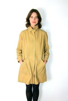 Classic Tan Suede 60's Over Coat on Etsy, $78.00
