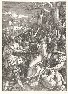 1510 Albrecht Dürer, The Capture of Christ (Gevangenneming). Christ is betrayed by Judas with a kiss and captured by soldiers. This print is part of the series 'The Great Passion', consisting of a frontispiece and 11 scenes from the Passion.