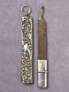 Nail File    Sheathed inside a decorative sterling case, this 1890s implement would likely fetch around $100.