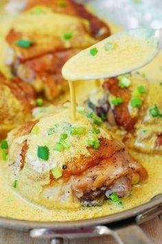 chicken with creamy mustard sauce, chicken thighs recipes