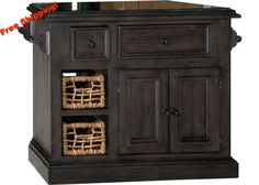 5823 Tuscan Retreat ® Small Granite Top Kitchen Island with 2 (Two) Baskets - Weathered Gray Finish