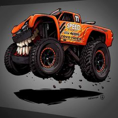 Very special project that I honored to be a part of! #beastedup trophy truck for American racecar driver. He has raced in NASCAR CART IndyCar Trans-Am IMSA IROC and Dakar Rally - @robbygordon and awesome @kingshocks !!! #nitrouzzz #AndreyPridybaylo #art #carart #cartooncar #carwithteeth #trophytruck #chevy #chevrolet #car #offroad #toyotires #racing #RobbyGordon #traxxas #kingshocks #teeth #illustrator #ai by nitrouzzz