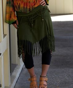 Look at this Olive Beaded Fringe Skirt - Women on #zulily today!