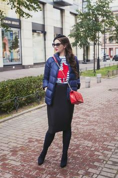 puffer jacket & pencil skirt outfit