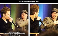 Paul And Ian at a fan event. A fan asks Ian what his biggest fear is and Paul impersonates Ian and answers the question! Lol..Paul really is a funny guy!!!