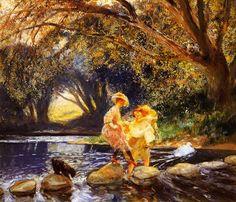 Difficult Crossing by Gaston de LaTouche French Impressionist Monet, Autumn Scenes, Portraits, Dutch Painters, Post Impressionism, Gaston, A4 Poster, Vintage Artwork, France