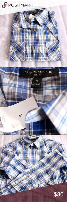 🆕NWT Banana Republic Button Down Shirt 🔹Men's new with tags Banana Republic button down shirt.🔹Blue plaid.🔹No trades/PayPal.🔹No try ons.🔹Offer or bundle! Banana Republic Shirts Casual Button Down Shirts