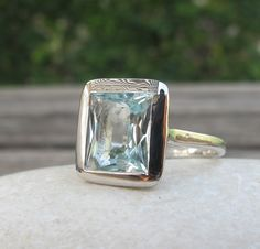 Aquamarine Ring- Stone Ring- Silver Stone Rings- Gemstone Rings- March Birthstone Ring- Silver Rings- Aquamarine Silver Rings on Etsy, $598.99