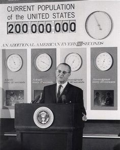 President Lyndon B. Johnson announces that the U.S. population reached 200 million at 11:03 on November 20, 1967. Learn more at http://www.census.gov/history/