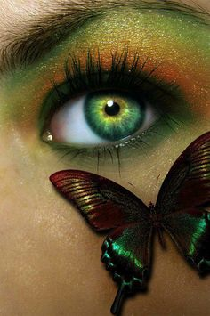 Butterfly to match eye make-up. Gorgeous Eyes, Pretty Eyes, Cool Eyes, Amazing Eyes, Butterfly Eyes, Green Butterfly, Butterfly Kisses, Butterfly Makeup, Look Into My Eyes