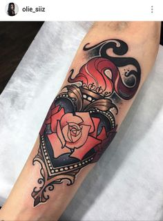 Neotraditional torch heart tattoo by Olie Siiz