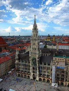 The Tower of the Neues Rathaus in Munich, Germany