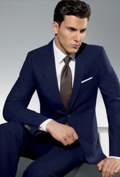 Navy suit, white shirt and grey tie.. #suits you