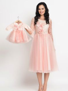 Seturi mama-fiica - Hira Design - Handmade Romania Girls Dresses, Flower Girl Dresses, Bridesmaid Dresses, Wedding Dresses, Ivory, Peach, Satin, Romania, Handmade