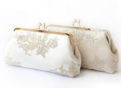Metallic silver and gold Alencon Lace Clutches for Brides and Bridesmaids ivory and champagne. Fall 2015 Collection by ANGEEW