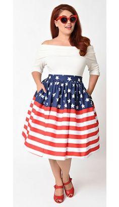 Unique Vintage Plus Size 1950s Stars & Stripes Flag High Waist Swing Skirt