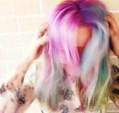 Bleach London hair rainbow medium wavy