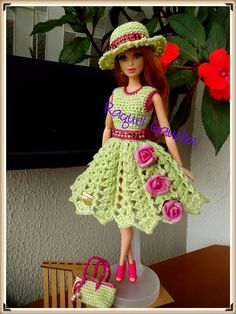 #CamilaFashion #Crochet #Doll #Muñeca #Barbie #Chapéu #Hat  #Sombrero #Dress #Vestido #Bolsa #Purse #RaquelGaucha