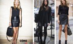 Cómo combinar falda de cuero con look total negro