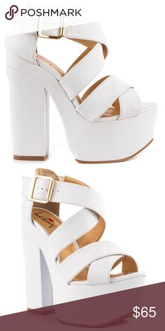 Luichiny super platform shoes 8 white van buren Like new minor wear on soles no scrapes or damage. Rock the platform trend in these retro sandals by Luichiny. Van Buren showcases a soft white synthetic upper with overlapping straps. The smooth textile covers the 6 inch heel and 2 1/4 inch platform to create a fashion staple in your closet. This Shoe Fits True To Size. I'm a 7 & these are a true 8. YRU Jeffrey Campbell unif dollskill nasty gal irregularities choice current mood Jessica…