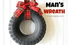 Man's Wreath for the Holidays - Great idea for Daddy's garage.